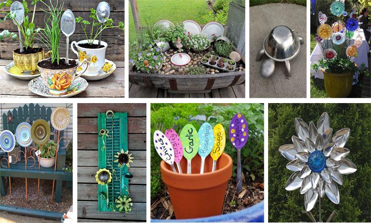 17 ideas originales para decorar el jardin con utensilios for Ideas originales para decorar