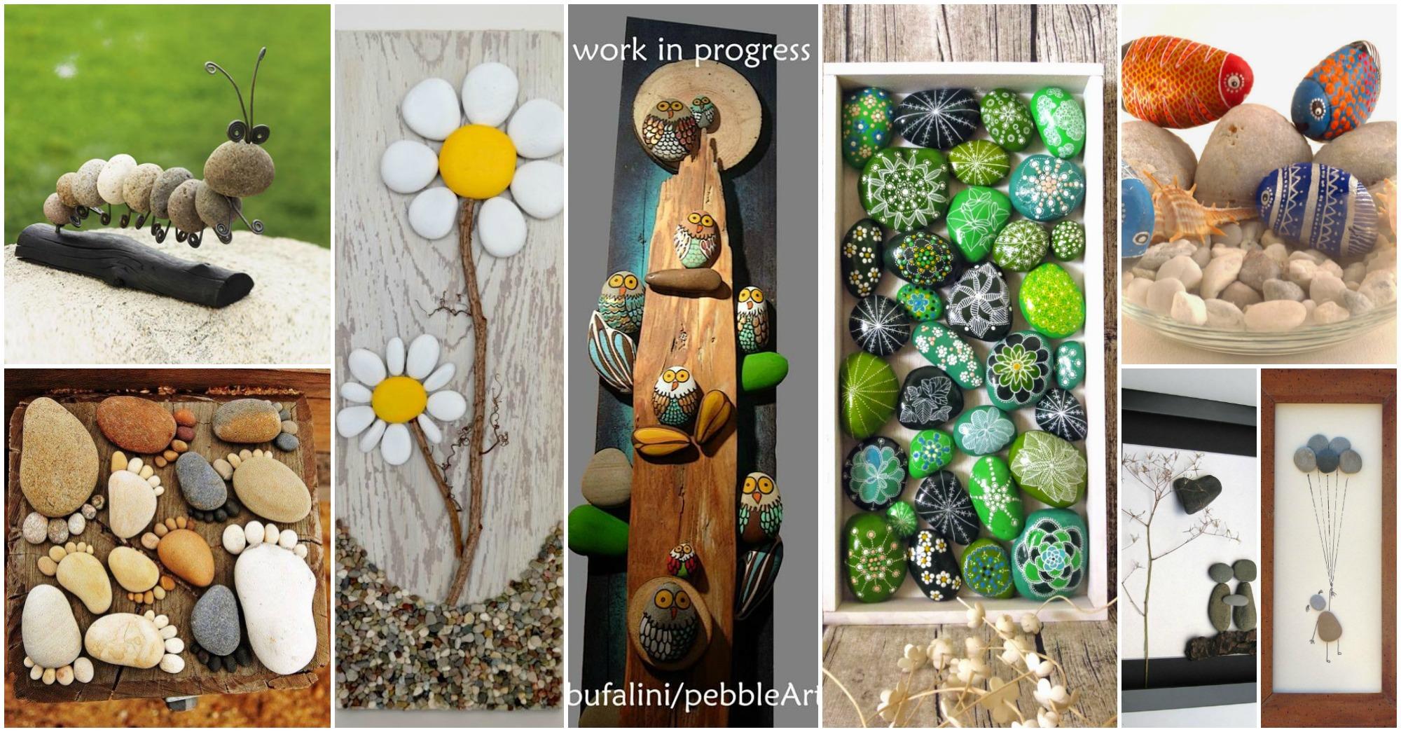 20 artesanias geniales con piedras for Jardines con piedras y madera