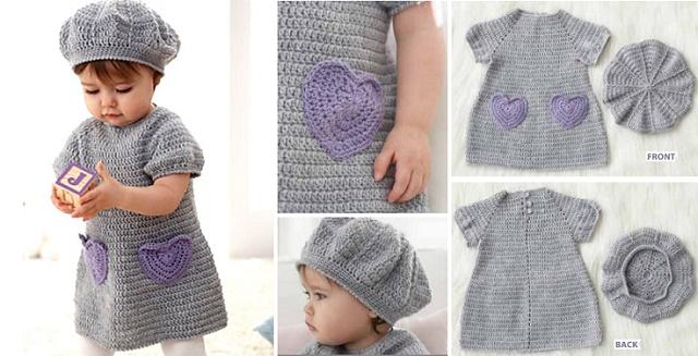 Ganchillo Vestido Bebé Y Sombrero (Patrones Libres)