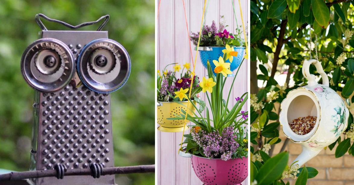 20 ideas geniales para decorar jard n con art culos de cocina - Cosas para el jardin ...