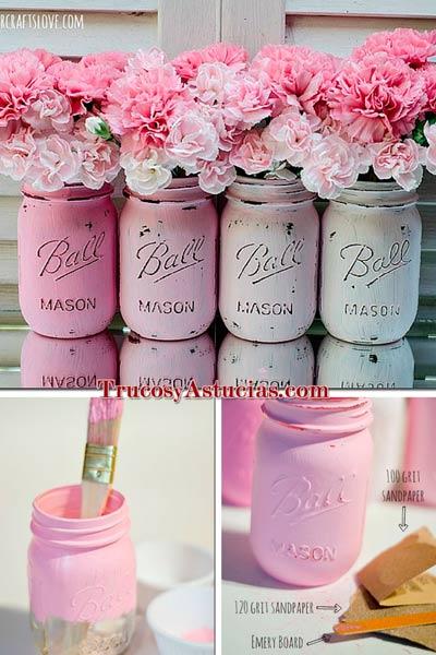 20 jarrones y floreros que puedes hacer con manualidades for Que puedo hacer para decorar mi cuarto