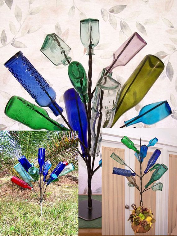 12+ Hermosas Ideas para Decorar Jardín con Botellas de Vino