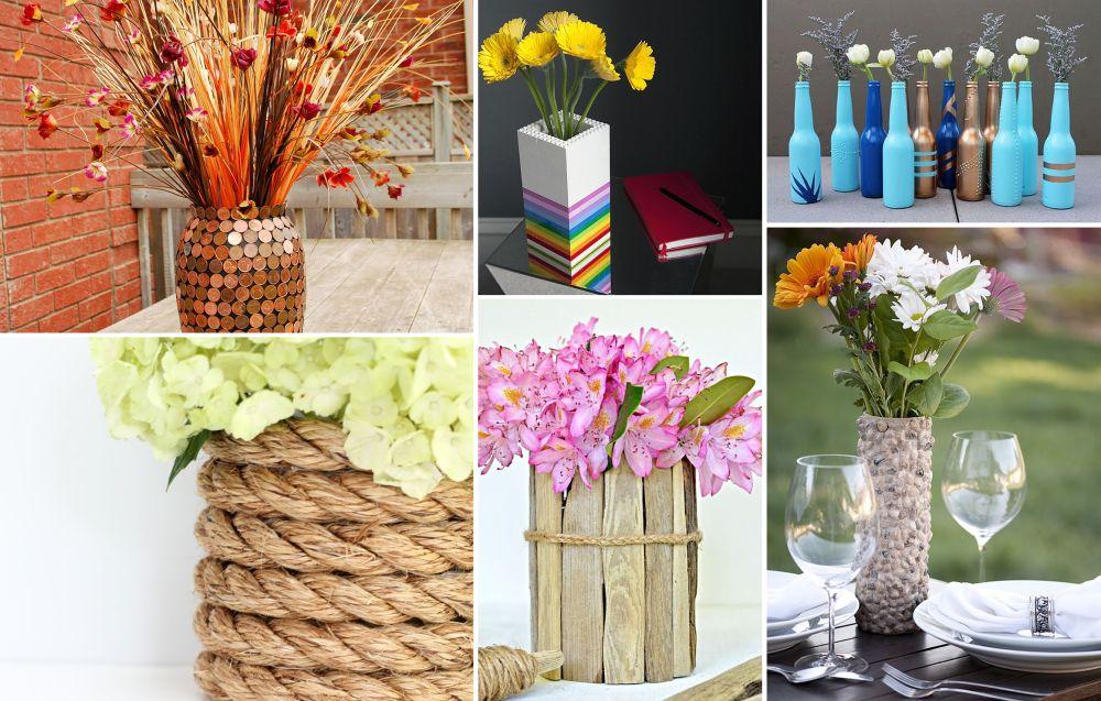 20 jarrones y floreros que puedes hacer con manualidades for Jarrones decorativos para jardin